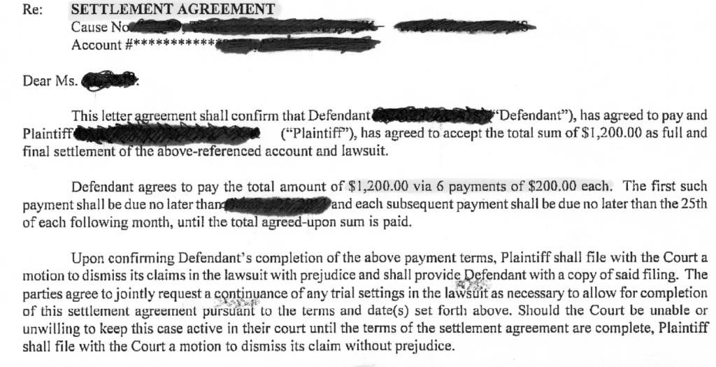 Credit settlement agreement more information