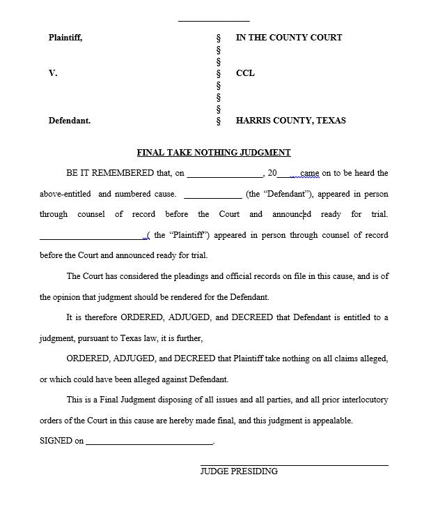 Take Nothing Judgment | Weston Legal, PLLC