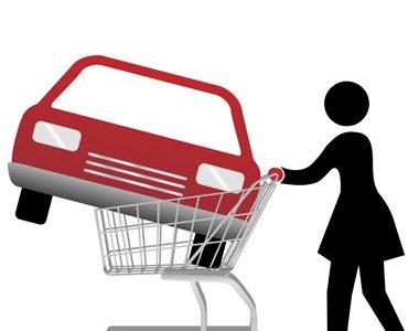woman car shopper buying auto inside shopping cart